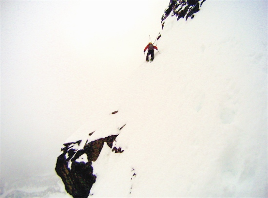 John Lehrman ascending the traverse to the upper face, photo by Don Lange