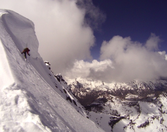 John Lehrman dropping onto the upper face, photo by Don Lange