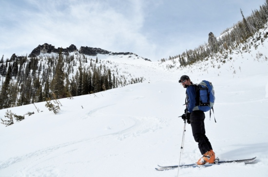 Skiing the big avy path back into Blodgett Canyon, eight mile meadows