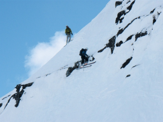 Skiing the crux of the traverse