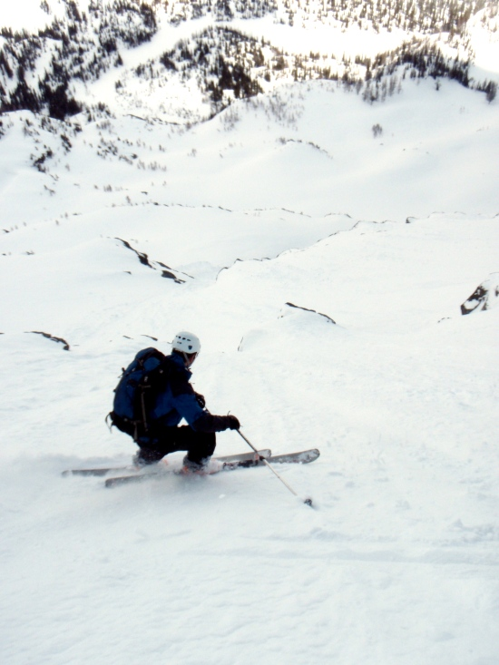 Brian skis the lower face