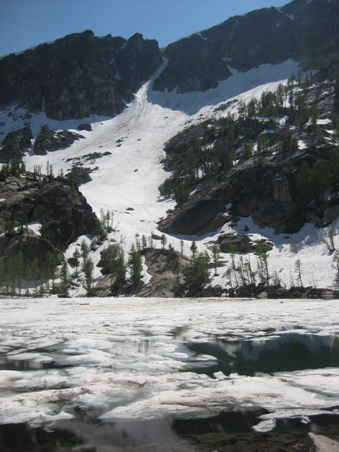 The Gem Lake Couloir becomes a moderate alpine ice climb in late summer early/late fall