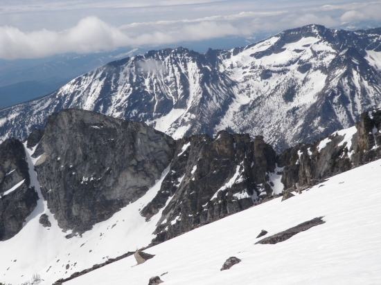 The view south from Trapper Peak's summit to Boulder East and Main