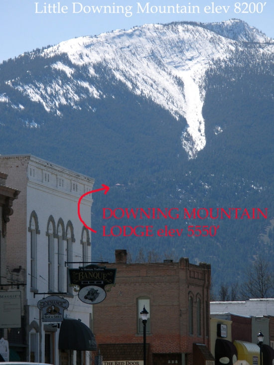 Downing Mountain Lodge, view from town and location of lodge