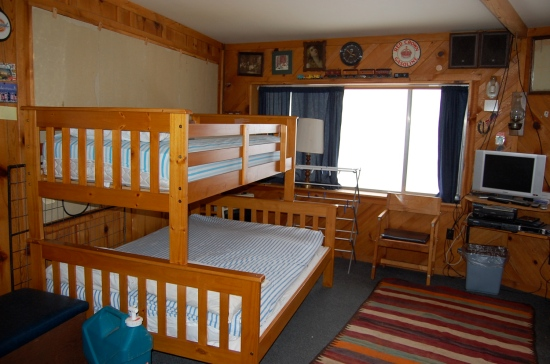 The big bedroom at the lodge has two twin over full bunks...space for six.