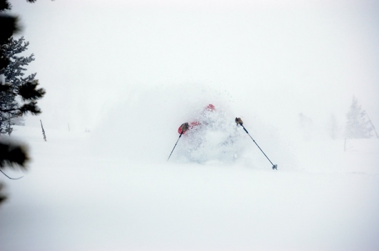 Skiing the runout below the big bowl, March 17, 2009...two feet of fresh powder.