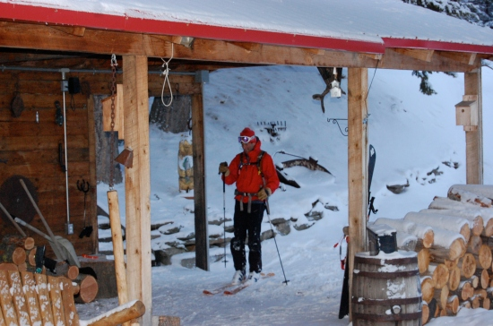 Skiing into the lodge breezeway at the end of a powder day.