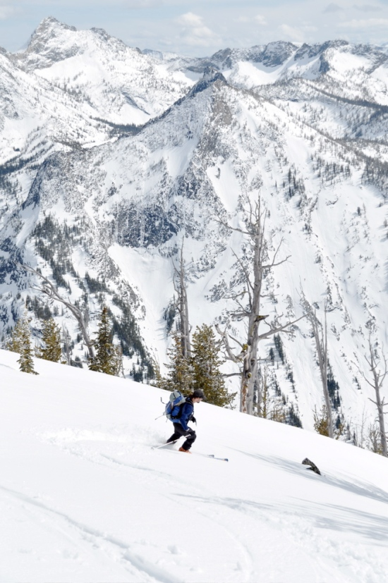 Descending from the top of the large avalanche path at Nine Mile Meadows
