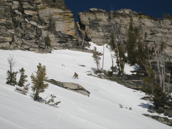 Skiing from the snow notch, Mill 2 south