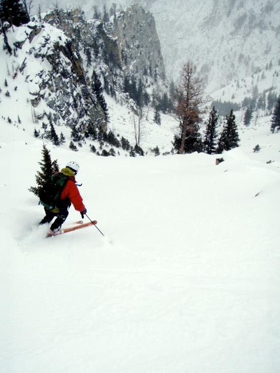 Skiing the Kootenai chute