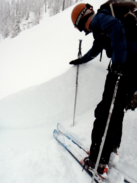 Fracture line and skier triggered avalanche in the Big Bowl, good avalanche assessment skills are necessary for safe travel in all backcountry ski situations.