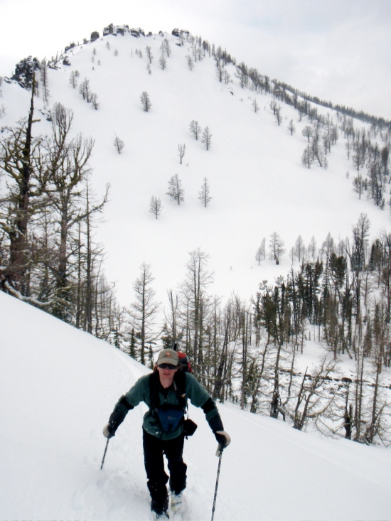 Lance Reik from Backcountry Magazine hiking into his powder daze, enroute back to the lodge