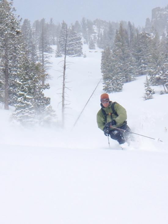 Skiing the backside south facing terrain