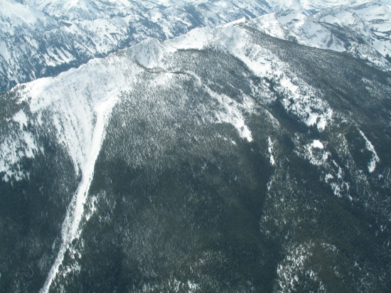 Aerial view of Downing Mountain